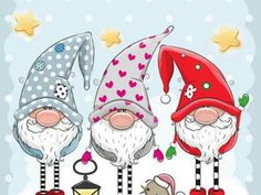 Buy Three Gnomes on a Blue Background by on GraphicRiver. Greeting Christmas card with Three cute Gnomes on a blue background Christmas Rock, Christmas Gnome, Christmas Images, Vintage Christmas, Christmas Holidays, Christmas Decorations, Christmas Ornaments, Office Decorations, Christmas Pictures To Draw