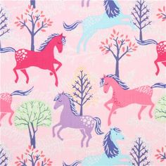 pale pink horse glitter animal fabric Timeless Treasures 2