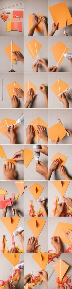 Paper Kite DIY | Oh Happy Day! Diy Arts And Crafts, Craft Stick Crafts, Kites Craft, Kites Diy, Kite Party, Diy For Kids, Crafts For Kids, Kite Making, Curious George Party