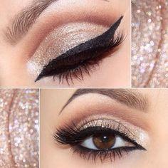 gold cut crease + arabic winged liner, brown crease, champagne glitter #eye makeup #eyeliner