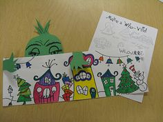 "The Elementary Art Room!: Whoville Third graders have really enjoyed making ""Whoville"" in Art class. Each student has a long piece of paper to fill with Who houses and trees. We even made the grinch peeking over the town. This has been a great project to inspire the third graders during these long school days before break!"