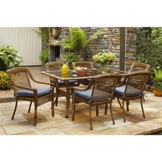 Hampton Bay Spring Haven Brown 7-Piece All-Weather Wicker Patio Dining Set with Sky Blue Cushions 66-2999 at The Home Depot - Mobile
