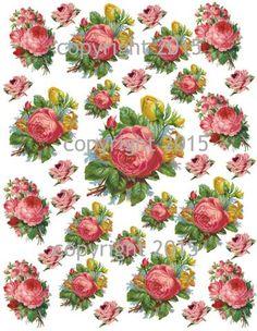 Pink Roses Collage Sheet #2 Printed Collage Sheet,  Weddings, Decoupage, Scrapbook, Altered Art, Victorian Scrap