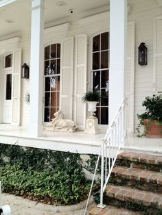 12--Summertime Inspiration | In the Garden June 2015 Exterior Paint Colors, Windows With Shutters, Tall Windows, Ceiling Windows, Porch Windows, White Shutters, Large Shutters, Porch Columns, Arched Windows