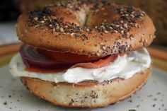 Toasted everything bagel with nova lox, cream cheese and a sliced onion....