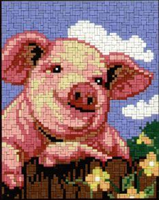0227-angie-farm-schwein-arthur-1x3 Cross Stitch Horse, Graph Design, Graph Paper, C2c, Mosaic, Teddy Bear, Horses, Disney, Animals