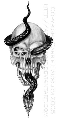 Black Snake Tattoos for Men | Skull and Serpent by Aerin Kayne