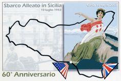 POSTCARD ANNIVERSARY OF THE SECOND WORLD WAR - Cartolina commemorativa, del 60° anniversario dello sbarco Alleato in Sicilia, realizzata da Nuni Burgio e Nuccio Mulè
