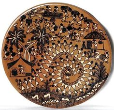 Wall Plate with Warli Painting (Terracotta))