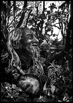 Leszy linoryt Linocut Slavic mythology