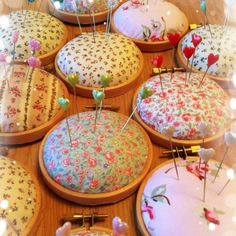 'Necessity is the Mother of invention' I designed and made these pin cushions to house my millions of pins. Lovingly handmade with vintage style cotton fabric, mounted on a 3 inch embroidery loop and backed with felt. I have them all over my craft room. Fabric Crafts, Sewing Crafts, Sewing Projects, Craft Projects, Craft Ideas, Embroidery Hoop Crafts, Cushion Embroidery, Simple Embroidery, Crewel Embroidery