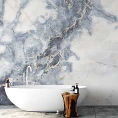 Browse our collection of marble wall murals and feel inspired! Create a stunning bathroom with marble wallpaper from Wallsauce. Where to buy marble wallpaper. Minimal bathroom with a stone bath and a stunning wall mural. We have a large selection of beaut Bathroom Wallpaper Murals, Wallpaper Ceiling, Wallpaper For House, Wall Paper Bathroom, Marble Effect Wallpaper, Ceiling Murals, Stone Wallpaper, Latest Wallpaper Designs, Latest Wallpapers