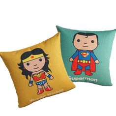 "18"" Superman & Wonder Woman Square Cushion Soft Stuffed Pillow Toy Set of 2 #unbranded"