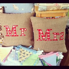 Mr and Mrs cushions, handmade by www.bonny-boutique.co.uk