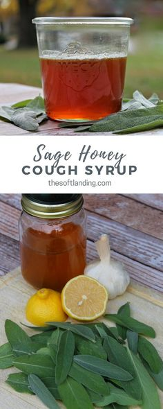 Homemade cough syrup natural remedy. We recently harvested a giant crop of sage and honey so what better way to battle the flu season that with antibacterial, antiviral, sage honey cough syrup? #NaturalRemedies