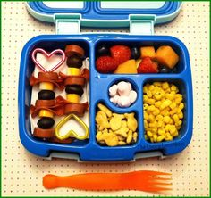 The Lucky Lunchbox/ Meat and cheese kabobs packed in our Bentgo Kids lunchbox