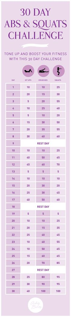 30 day abs and squats challenge. awesome Bikini body workout.