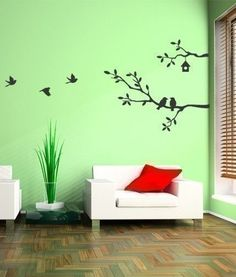 Cute Birds and Branches Decal - Vinyl Wall Decal from SimpleShapes on Etsy. Simple Wall Paintings, Wall Design, House Design, Floor Design, Vinyl Wall Stickers, Diy Wall, Wall Murals, Wall Art, Room Decor