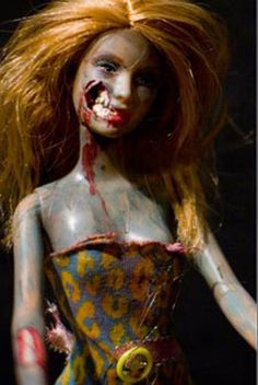 "Zombie Barbie! Programming idea: Have teens or tweens bring in old barbies or dolls to turn into ""Zombies"" as part of a Zombie  Apocalypse party -MKS"