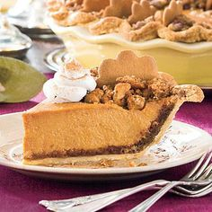 Pumpkin Pie Spectacular | No Thanksgiving meal is complete without pumpkin pie. Crushed gingersnaps are pressed into the crust, adding even more flavor and depth to this classic fall dessert. | SouthernLiving.com