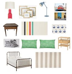 Boy Room, Kids Room, Farmhouse End Tables, Spindle Bed, Red Table Lamp, Nautical Bedroom, Cottage Bedrooms, Striped Quilt, Anglepoise