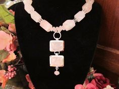 Rose Quartz and Crystal Necklace by RomanticThoughts on Etsy, $49.95, #RomanticThoughts