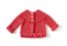 Chaqueta de Crochet Burbujitas para niña [ Tutorial y Patrón GRATIS ] Baby Cardigan Knitting Pattern, Crochet Cardigan, Baby Knitting, Knitting Patterns, Baby Clothes Patterns, Clothing Patterns, Baby Pullover, Baby Sweaters, Crochet Clothes