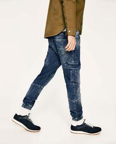 SOFT DENIM CARGO TROUSERS Track Pants Mens, Cargo Pants, Joggers, Trousers, Zara, Skinny Jeans, Denim, Life, Fashion
