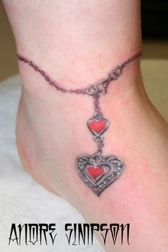 Heart Pendant Ankle Tattoo