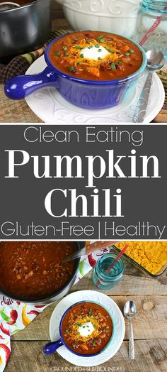 The BEST Clean Eating Pumpkin Chili | Fall begs for healthy and easy stove top recipes like this main dish. Use ground beef, turkey, buffalo, or venison in this crockpot friendly dinner. Gluten free soups and low carb stews are always my go-tos when it gets cold and this spicy chili is no exception. Adding a little fresh produce like bell pepper, onion, and canned or fresh pumpkin bumps up the nutritional content too! Kids and adults alike will love this chili!