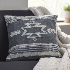 The Pillow Collection Rivka Geometric Throw Pillow Cover Rat