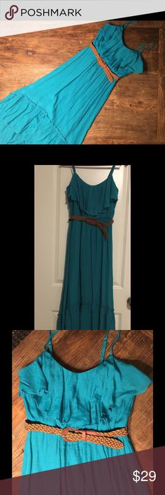 New belted high-low dress with spaghetti straps New with Tags Aqua-green long high/low dress with spaghetti straps. Layered ruffle top and hem.  Belted. Adorable summer dress. Size medium. From Macy's BXC Dresses High Low