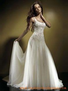 Una cucharada de línea Abandonada cintura largos Vestidos de novias de famosas