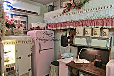 Penny's Vintage Home: Top Projects of 2014. Cute vintage kitchen with kisses of pink.