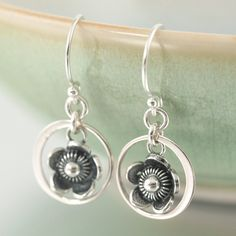 From the Botanical Collection at South Paw Studios Jewelry- Blackened Sterling silver flower dangle earrings