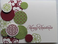 SU! Circle Circus paired with Lucky Limeade and Cherry Cobbler makes a great contempo Christmas card - Kristine Burns