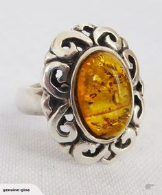 Sterling silver & Baltic Amber ring