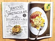 png by Kyle Anthony Miller // orange coast magazine // magazine layout spread--love how it looks like you are eating it. Editorial Design Inspiration, Editorial Layout, Menu Design, Food Design, Print Design, Design Layouts, Orange Coast, Magazine Layout Design, Magazine Layouts