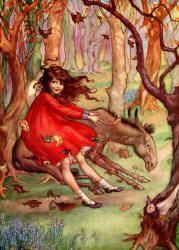 She, too, was a Few Inches above the Ground, sailing along on the Wind - The Password to Fairyland by Elizabeth Southwart, 1920