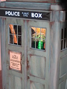 believe it or not, but this is a Tardis cake. yes, a CAKE! wow! Most of it is edible and look how cool it is with a 'bigger on the inside' illusion. :)