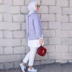 How to style the white jeans with hijab – Just Trendy Girls
