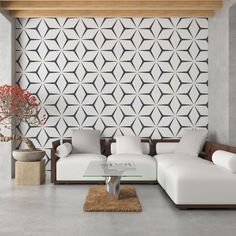 The pattern isn't pointing in any vertical or horizontal way, but that's what makes it so calm and simple to look at with some negative space going on Decor, Wallpaper Accent Wall, Removable Wallpaper, Interior, Geometric Star Wallpaper, Home Decor, Interior Wallpaper, Geometric Star, Interior Design