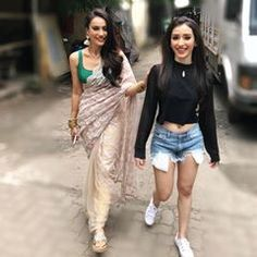 """Our """"not so candid"""" walks 😬❤️ Girly Attitude Quotes, Saree Look, Indian Beauty Saree, Saree Styles, Celebs, Celebrities, Beautiful Actresses, Pretty Face, Blouse Designs"""
