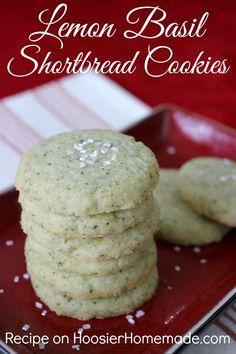 Lemon Basil Shortbread Cookies Recipe ~ A savory cookie with lemon and basil