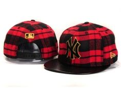 Casquette NY New York Yankees MLB Snapback Rouge Noir Cuir : Casquette Pas Cher