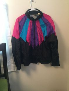 3d691aa98cb Women s Vintage 80s 90 s Windbreaker Jacket Thin Nylon Colorblock Size L  Bomber