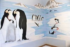 I love this penguin mural. Baby Room Themes, Baby Boy Rooms, Baby Room Decor, March Of The Penguins, Baby Penguins, Floor Murals, Wall Murals, Penguin Day, Penguin Pictures