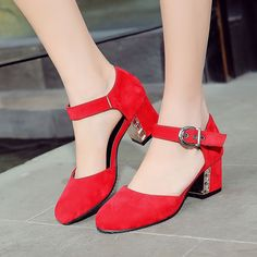 7d478df93e4 Womens Shoes Pumps Faux Suede Chunky High Heels Pointy Toe Ankle Strap Slip  On