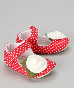 Take a look at this Red & White Sweet Strawberry Mary Jane by Gracious May on #zulily today!