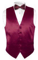 Biagio Men's Solid BURGUNDY SILK Dress Vest Bow Tie Set for Suit or Tuxedo